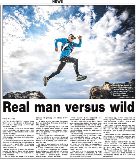 John Howe, profiled in NT Times prior to his upcoming crack at the Simpson Desert record - 379km in 3 days, 8 hours, and some hard earned change.