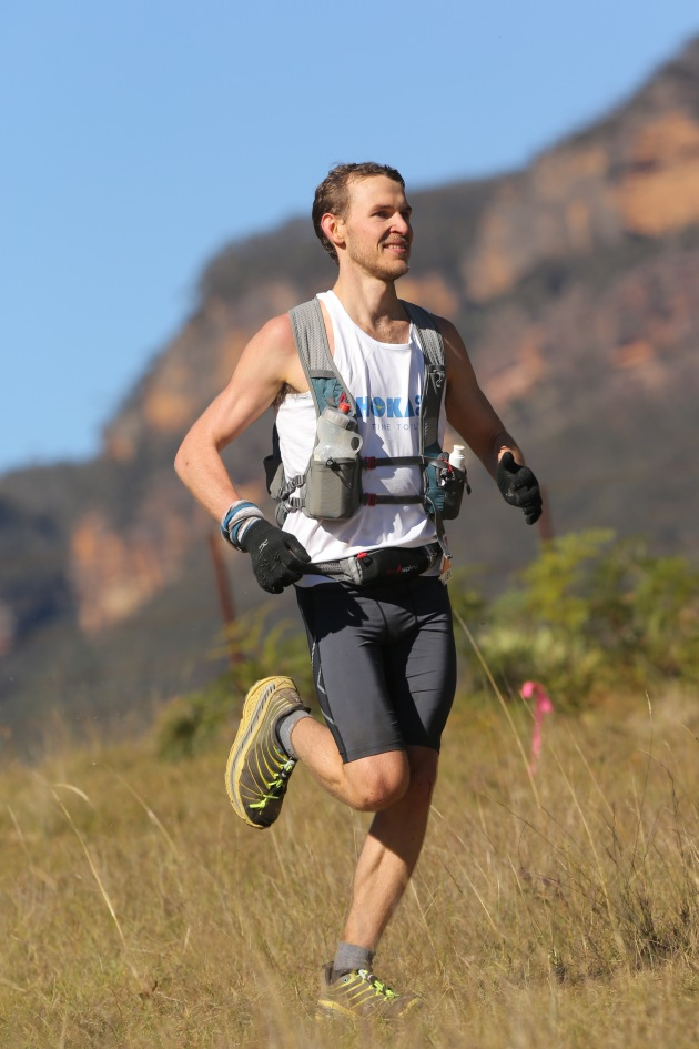 Ben Duffus looking fresh and feisty around the 60km mark at The North Face 100 Australia, pic courtesy of the Duffus family