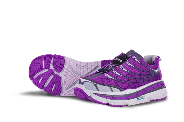 Women's Stinson Tarmac, in Dewberry, Orchid, Grey. HOT road running!