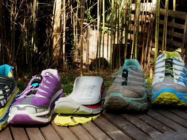 L to R new women's Tarmac, Stinson midsole, Stinson Trail 2012 women's & men's/unisex Flag
