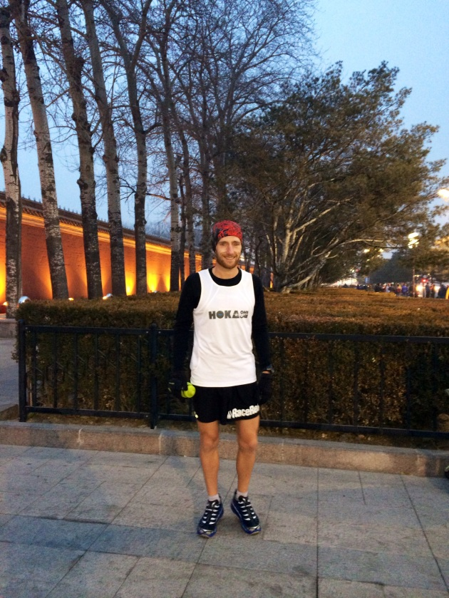 Flashing his shorts at -3, Hoka OneOne Australia's Scott Hawker out for a training run in Beijing, on his way to the Hong Kong 100 later this month.