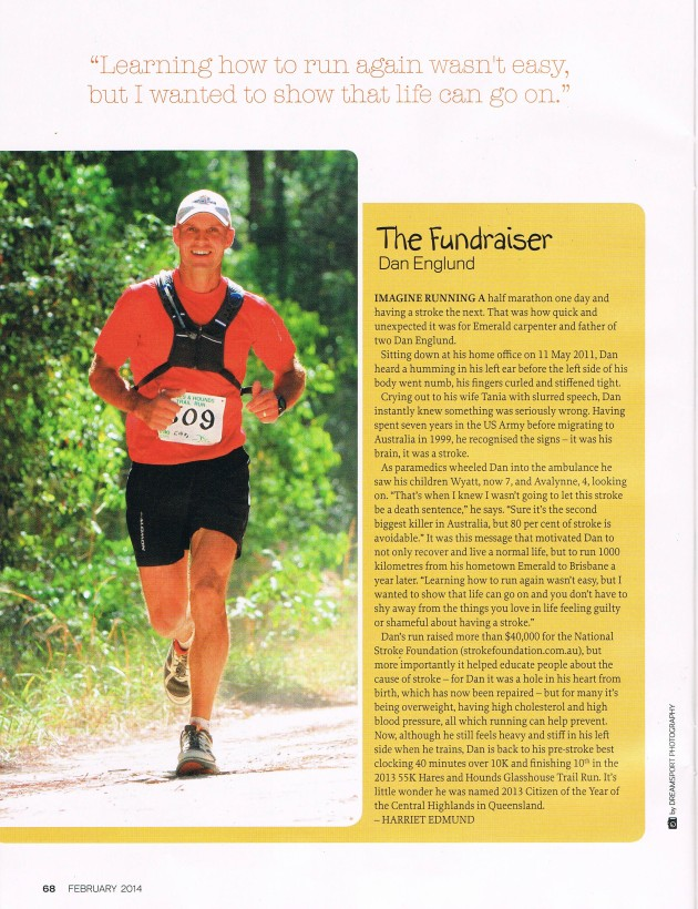 Dan Englund profiled for his courage and fundraising work in the February issue of Runners World Australia.